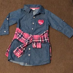 Little Lass Denim Dress with flannel